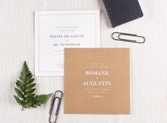 Faire-part de mariage L'essentiel kraft by Tomoë pour www.Rosemood.fr #rosemood #atelierrosemood #wedding #announcement