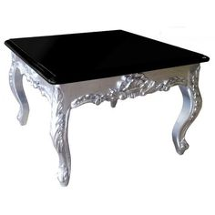 Square coffee table baroque silvered wood with black lacquered top ($235) ❤ liked on Polyvore featuring home, furniture, tables, accent tables, decorations, square wood coffee table, square coffee table, black coffee table, wood accent table and square wooden coffee table