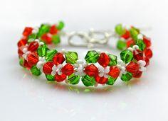 Como hacer pulseras con cuentas-diseño especial para el día de Navidad con bolas de cristal Swarovski - Pandahall