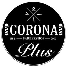 Barber shop plain black & white logo