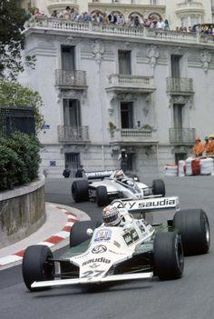 Alan Jones (Williams FW07B) and Nelson Piquet (Brabham BT49) Monaco Grand Prix 1980