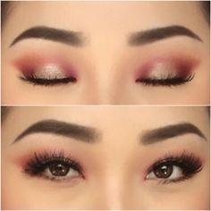 Make up for Asian eyes. Pink and burgundy halo with shimmer. Follow me on my personal Instagram shirleyvang101