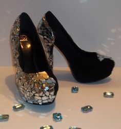 Shattered Mirror Glass Heels $70.00. Visit Pretty-Beautiful-Boutique.com
