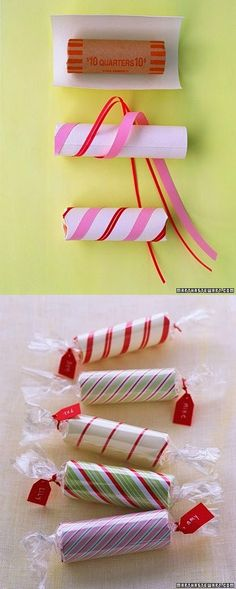 Roll of coins stocking stuffer...cute idea!!                                                                                                                                                                                 More