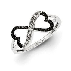 1/6 Carat Black White Diamond Connected Heart Ring In Sterling Silver Available Exclusively at Gemologica.com