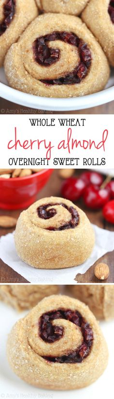 Overnight Whole Wheat Cherry Almond Rolls -- practically like eating cherry pie for breakfast! Clean-eating & barely 125 calories!