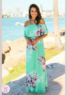 17c9997ccd Ruffle Off Shoulder Boho Dress Mint Flower Skirt, Church Dresses, Green  Flowers, Pin