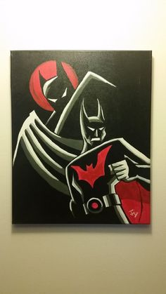 16x20 acrylic painting on canvas of Batman and Batman beyond