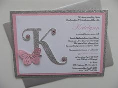 Handmade invitation on glitter silver card stock matted with dusty rose pink with white cardstock, monogram, butterfly and rhinestones. The price includes the outer envelope. You pick what color card stock and rhinestones you want. No additional charge! I can make coordinating Save the Date, RSVP, Thank You Cards, Map or Direction Cards too. No minimum required! The completed invitation set includes the following pieces: * One three-layered invitation with monogram - size 5x7 * One matching…