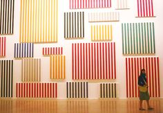 "Daniel Buren, ""Photo-souvenir: Le mur de peintures,"" a group of twenty canvases created between 1966 and as displayed at the Musee d'Art Moderne, Paris. Art Pictures, Photos, Daniel Buren, Photo Souvenir, Social Art, Paint Stripes, Chef D Oeuvre, Colour Field, Art Moderne"