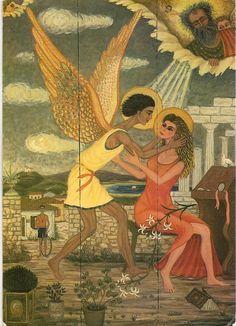 Greek artist Themis Tsironis, oil on wood. (Looks like an Annunciation image. Greek Island Holidays, Contemporary Decorative Art, Greece Painting, Greek Art, Naive Art, Conceptual Art, Artist Painting, Art Music, Figurative Art