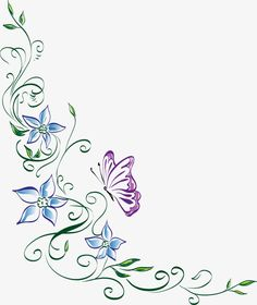 Free Image on Pixabay – Floral Ornament, Flower, Butterfly - Photo Composition İdeas Cartoon Butterfly, Butterfly Clip Art, Butterfly Drawing, Butterfly Frame, Butterfly Flowers, Flower Background Wallpaper, Butterfly Wallpaper, Flower Backgrounds, Border Tattoo