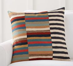 Carson Crewel Stripe Pillow Cover #potterybarn