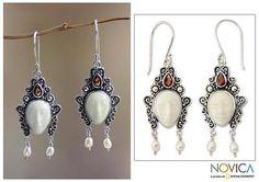 Pearl and garnet dangle earrings, 'Beautiful Dedes' - Sterling Silver Bone and Pearl Earrings