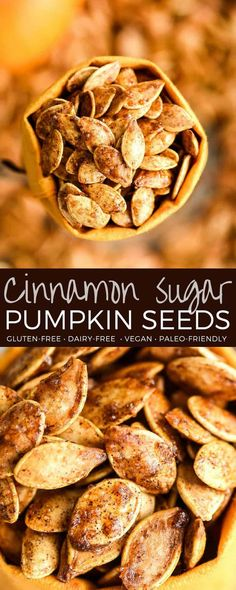 Homemade Cinnamon Sugar Pumpkin Seeds Recipe! Don't throw away the seeds when you carve pumpkins this year! Save them and make this recipe for the perfect sweet and salty fall snack! Vegan, gluten-free and dairy-free! and paleo-friendly! #pumpkin #pumpkinseeds #homemade #healthy #recipe #glutenfree #dairyfree #vegan #cinnamonsugar #paleo via @joyfoodsunshine Roast Pumpkin, Pumpkin Carving, Cinnamon Sugar Pumpkin Seeds, Pumkin Seeds Baked, Flavored Pumpkin Seeds, Savory Pumpkin Seeds, Homemade Pumpkin Seeds, Savory Pumpkin Recipes, Best Pumpkin Seed Recipe