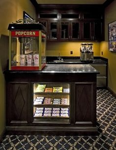 Media Room candy bar -home-theater Home Theater Room Design, Movie Theater Rooms, Home Cinema Room, Home Theater Decor, Theatre, Remodeling Mobile Homes, Home Remodeling, Home Cinemas, Home Pictures