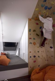 Rock climbing wall to access the loft instead of a ladder - this means little kids who shouldn't be in a loft anyway would have a harder time getting up there!