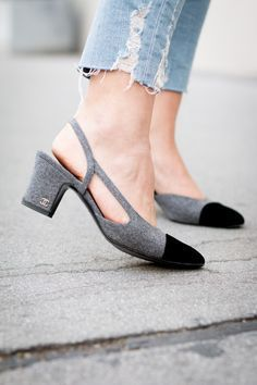 Chanel slingback heels gray & black #Chanel