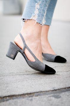 Chanel slingback heels gray & black #Chanel