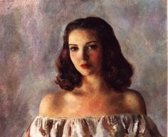 """Portrait of Linda Darnell"" oil, c.1949  23 3/4"" x 28 1/2""  Henriette Wyeth Hurd."