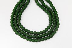 3 strands dark forest green recycled handmade by GlobalBeadTraders, $45.00