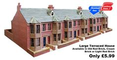 Large Terraced House  This model is of a large bay windowed terraced house based on houses found in Gosforth, Newcastle-upon-Tyne. This is a highly detailed kit which comes in a choice of Old Red Brick, Cream Brick and Light Red Brick. Within each kit is a further choice of two different roof tile colours and three different stone detailing colours.  The kit comes with full illustrated instructions.