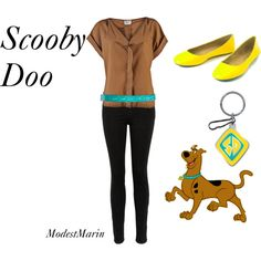 Scooby Doo by mormonredhed on Polyvore featuring Giada Forte, J Brand, Black & Brown London, skinny jeans, long pendant necklaces and skinny belts