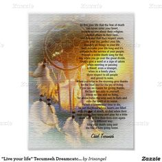 """Live your life"" Tecumseh Dreamcatcher sunset Posters"