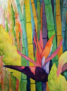 Award Winning Original Watercolor Painting Tropical Bamboo Garden with Bird of Paradise and Banana Leaves by Tracee Murphy,