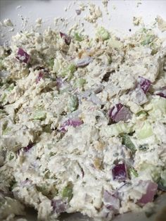 CopyCat Costco Rotisserie Chicken Salad // 1 rotisserie chicken, meat removed and shredded. 1 cup mayo. 5 stalks celery, diced. 1/2 large red onion, diced. 1/4 cup plain Greek yogurt. Salt, pepper, garlic powder, parsley to taste.