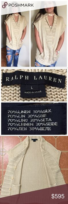 "Ralph Lauren Black Label Sand Beige Cardigan Mint Condition Ralph Lauren Black Label Sand Beige Linen-Silk Cardigan Sweater  MEASUREMENTS: ACROSS PIT TO PIT: 19.5"" ACROSS WAIST: 19"" BACK LENGTH: 28"" Ralph Lauren Black Label Sweaters Cardigans"