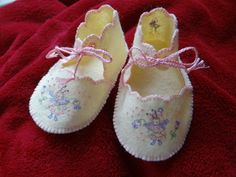 Flower Fairy Felt Embroidered Baby Shoes by dragonbees on Etsy