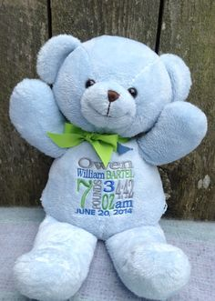 Personalized Baby Gift  Blue Teddy Bear Birth Announcement by WorldClassEmbroidery, $32.99 Baby Shower Gift Idea. Baby Boy