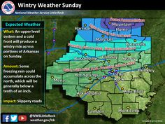 - says For Little Rock & Central Arkansas: Tonight Thru Saturday Night: Partly Cloudy Cold Nights. Sunny & Mild Saturday. Lo 28. Hi 39 & Lo 24. Sunday: AM Freezing Rain Or Mix Then Warmer With Scattered PM Rain Showers. Hi 42. Sunday Night & Washington's Birthday: Rain & A Few Thunderstorms. Lo 37. Hi Monday 50. Monday Night: Clearing. Lo 36. Tuesday Thru Thursday: Sunny Warm Days & Mostly Clear Mild Nights. Hi's 60-63 & Lo's Near 40. Updates: http://www.weather4ar.org/ - DCP2
