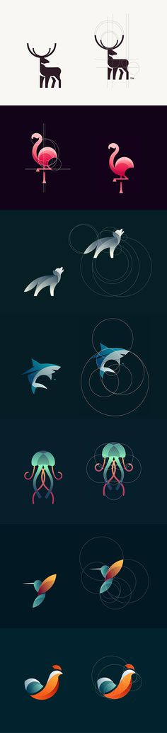 Geometrical animal logos by Tom Anders Watkins - #logo #design #branding