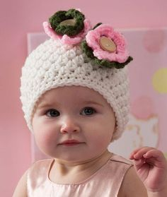 Darling Baby Hat Free Crochet Pattern in Red Heart Yarns