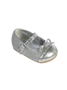 Infant and Toddler Shoes Style S102- SILVER Mary Jane Shoe with Bow  We love these darling shoes. Every child should have a pair of these because they are so sweet and elegant with any outfit. The rhinestone accented strap adds an extra special touch.  http://www.flowergirldressforless.com/mm5/merchant.mvc?Screen=PROD&Product_Code=TT_S102&Store_Code=Flower-Girl&Category_Code=Silver_Grays