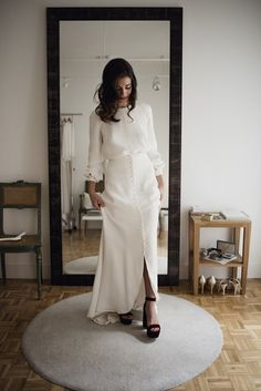 Modest Wedding Dresses Mormons a casual wedding separate of a maxi skirt on buttons, a long sleeve top and burgundy platform shoes Modest Wedding Dresses, Bridal Dresses, Wedding Gowns, Casual Dresses, Civil Wedding, Ladies Dresses, Fashion Dresses, Brunch Wedding, Casual Wedding