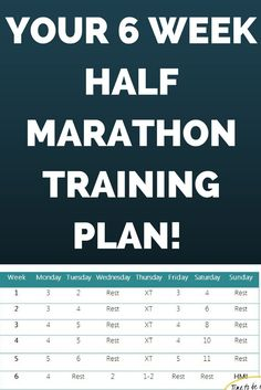 Challenge yourself with this 6 week half marathon plan! In just 6 weeks you can be crossing that finish line! #allaboutmarathontraining #halfmarathon #running #trainingplan