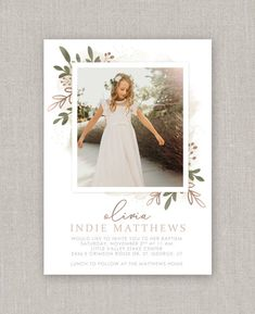 LDS Baptism Invitation Olivia | Etsy Passport Wedding Invitations, Baptism Invitations, Party Invitations, Christmas Collage, Christmas Card Template, Color Correction, Lds, Photo Cards, White Envelopes