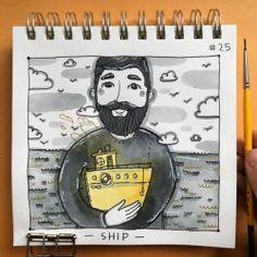 • SHIP •  #Inktoberday25 #ship #inktober2017 #illustration #tania_ink #blackandyellow #inkmyday #inktober #drawing (at East River Ferry)