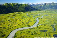 PHOTOS OF COPPER RIVER DELTA    Aerial view of Copper River Delta, Chugach National Forest, Cordova, Alaska              Photos of Chugach National Forest
