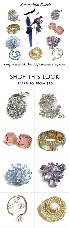 """""""Spring into Pastels"""" by myvintagejewels ❤ liked on Polyvore featuring CORO and vintage"""