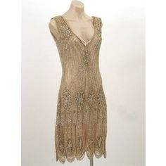 20's Style Gold Beaded Sequined Flapper Dress (bridesmaid dress)