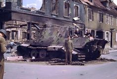 A Jagdtiger is now a photo location after the war in the spot it was destroyed during combat.