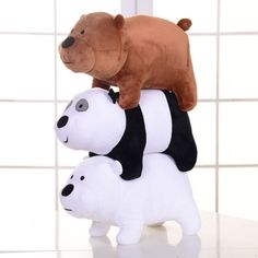 3pcs We Bare Bears Plush Toy Grizzly Panda Ice Bear Stuffed Soft Doll 12x25cm | eBay