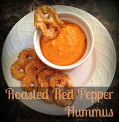 Delicious, easy roasted red pepper hummus recipe (without tahini). Made with a blender!