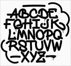 Graffiti font alphabet alfabet handlettering Graffiti Doodles, Graffiti Font, Cute Alphabet, Font Alphabet, Doodle Art, Hand Lettering, Fonts, Typography, Journal
