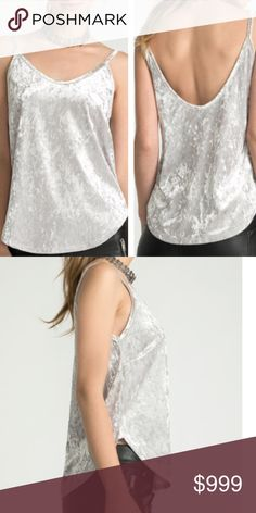 COMING SOON❗NWT Silver Velvet Tank Top Brand new in original packaging.  Ice silver camisole in trendy velvet.  Polyester/Spandex blend. Tops Tank Tops