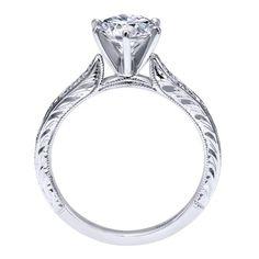 14k White Gold Diamond Straight Engagement Ring | Gabriel & Co NY | ER11827R4W44JJ